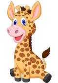 Şirin Bebek zürafa karikatür — Stok Vektör