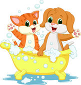 Cat and dog bathing — Stock Vector