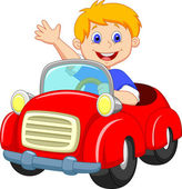 Young boy driving car — Stock Vector
