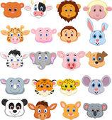 Animal head cartoon collection set — Stock Vector