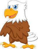 Schattig eagle cartoon zwaaien — Stockvector