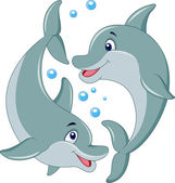 Cute dolphin couple cartoon — Stock Vector