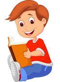 Young boy reading book — Stock Vector