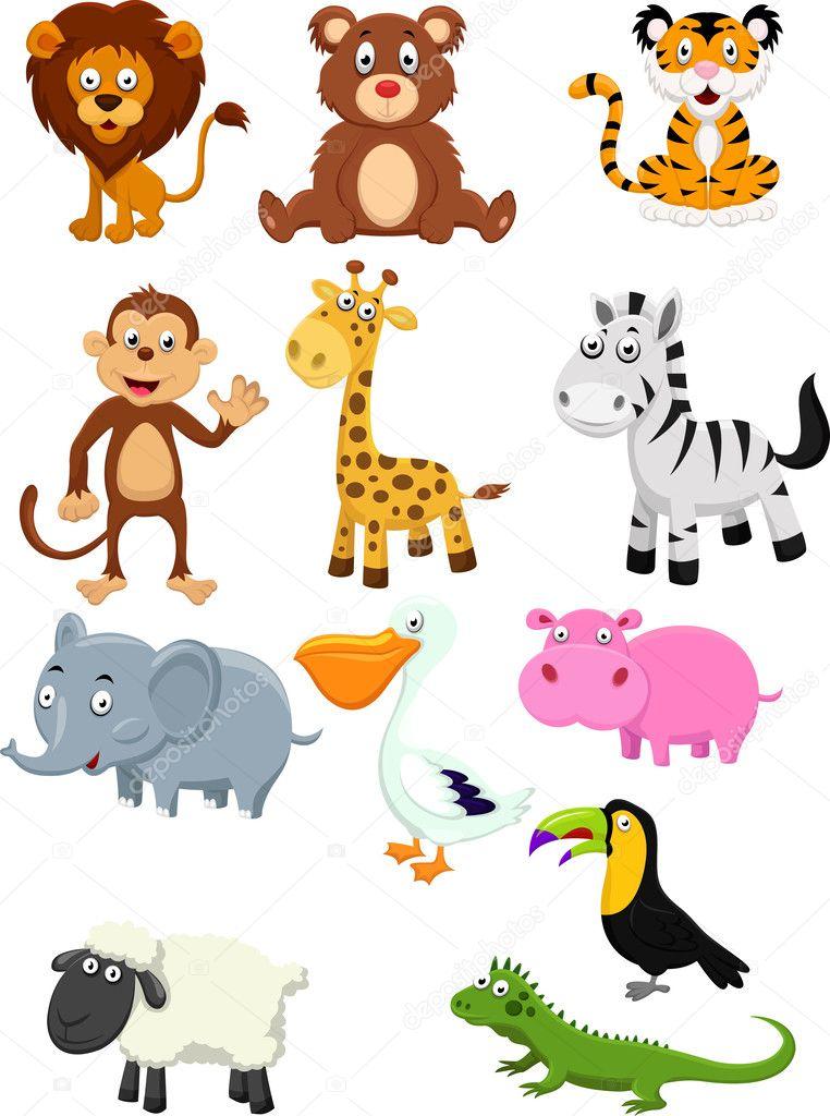 Animal cartoon collection set — stock vector tigatelu