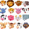 Cartoon animal head collection set — Stok Vektör