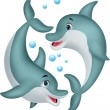 Cute dolphin couple cartoon — Imagen vectorial