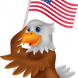 Eagle cartoon holding American flag — Stock Vector