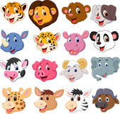 Cartoon animal head collection set — Stock Vector