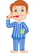 刷牙的可爱小男孩 — 图库矢量图片