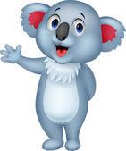 かわいいコアラ漫画手を振りながら — ストックベクタ