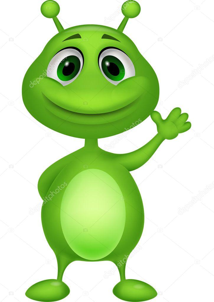 Simpatico cartone animato di alieno verde — vettoriali