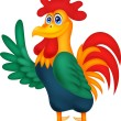 Stock Vector: Cute rooster cartoon waving