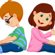 Boy and girl sitting with laptop — Imagen vectorial