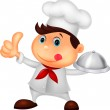 Chef holding a metal food platter and thumb up — Stock Vector #27987077