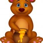 Cute bear cartoon with honey — Stock Vector #27987139