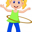 Cute girl twirling hula hoop — Stock Vector