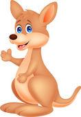 Cute kangaroo cartoon waving hand — Stock Vector