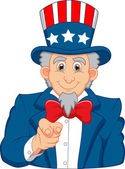 Uncle Sam pointing with his finger — Stock Vector