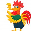 Cute rooster cartoon with blank sign — Stock Vector #28071405