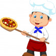 Little chef with pizza — Stock Vector #28072019