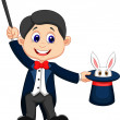 Magician cartoon pulling out a rabbit from his top hat  — Stock Vector