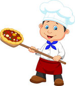 Little chef with pizza — Stock Vector