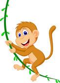 Cute monkey swinging — Stock Vector