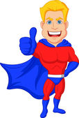 Superhero cartoon with thumb up — Stock Vector
