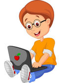 Child educate on laptop — Stock Vector