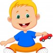 Vector Cute smiling boy playing with a toy car — Stock Vector