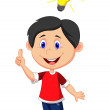 Boy coming up with a good idea — Stock Vector