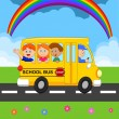 Illustration of School Kids Riding Schoolbus — Stock Vector #28707403
