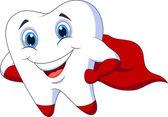 Cute tooth superhero cartoon — Stock Vector