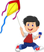 Boy and his kite — Stock Vector