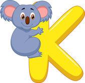 Alphabet K with koala cartoon — Stock Vector