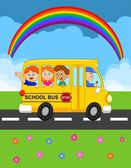 Illustration of School Kids Riding a Schoolbus — Stock Vector