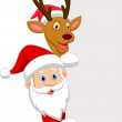 Santa and red nose reindeer — Stock Vector #28959567