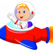 Cartoon boy astronaut in the spaceship — Stock Vector