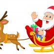 Santa drives his sleigh — Stock Vector