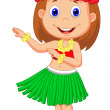 Stock Vector: Little Hula Girl