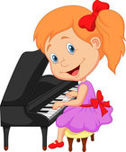Little girl playing piano — Stock Vector
