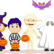 Children in Hallooween costumes set — Stock Vector #32225119
