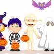 Stock Vector: Children in Hallooween costumes set