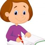 dziewczynka, pisanie książki — Wektor stockowy