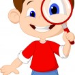 Illustration of a boy and a magnifier — Stock Vector