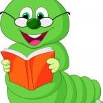Caterpillar reading book — Stock Vector