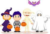 Children in Hallooween costumes set — Vettoriale Stock