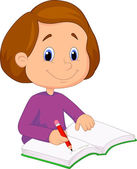 Little girl writing on a book — Stockvector