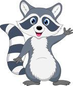 Raccoon cartoon waving — Stock Vector
