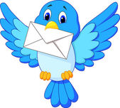 Sevimli kuş teslim mektup — Stok Vektör